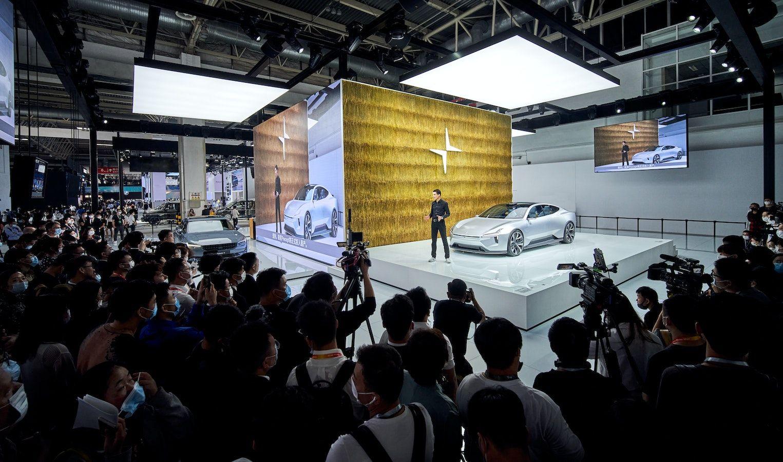 La conférence de presse de Polestar au salon de l'automobile 2020 de Pékin.