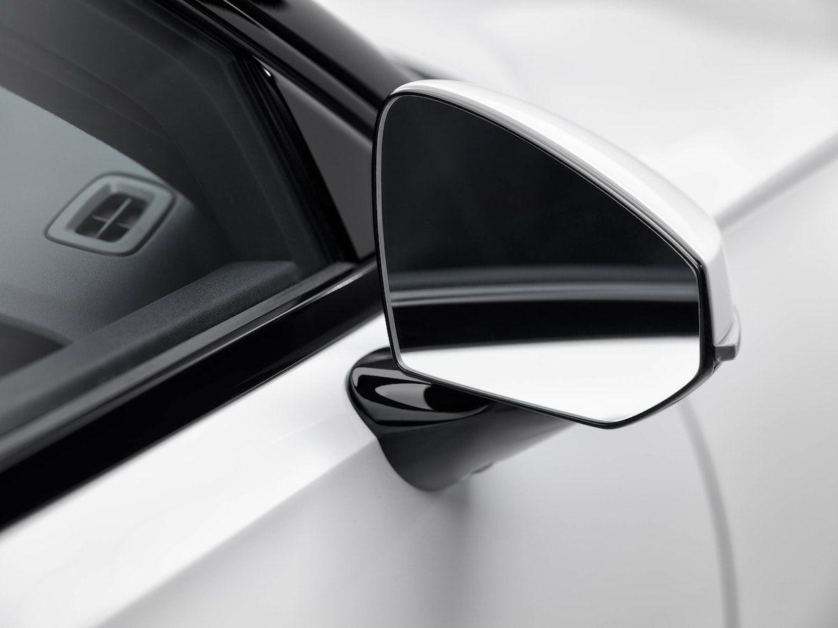 Polestar 2's frameless mirror design.
