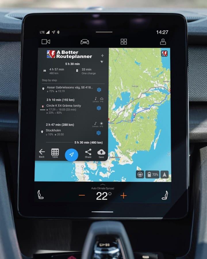 ABRP, la célèbre app de planification d'itinéraires, aperçue dans la Polestar 2.